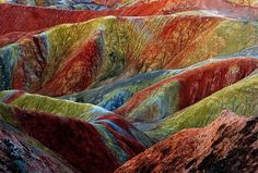 Rainbow mountains: Blue, yellow and ornage colours can be seen