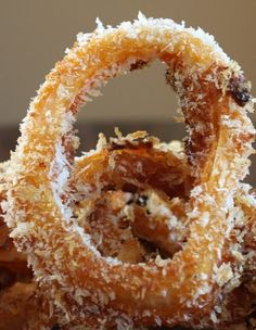 Baked BBQ Onion Rings Recipe ~ dipped into an easy barbecue sauce mixture and then dipped in bread crumbs.