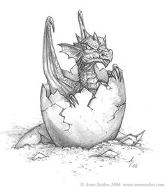 Hatchling by Ironshod on DeviantArt - dragon - Zeichnung Fantasy Drawings, Pencil Art Drawings, Art Drawings Sketches, Sketch Art, Animal Drawings, Cool Drawings, Fantasy Art, Tattoo Sketches, Art Du Croquis
