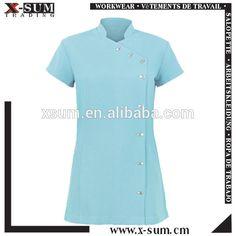Custom wholesale 100 polyester wrap mandarin collar hotel for Spa uniform cotton