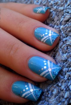 Cute Blue Nail Art Design Ideas