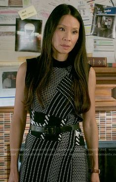 Joan's patchwork patterned dress on Elementary.  Outfit Details: https://wornontv.net/64095/ #Elementary