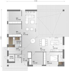 Avara oleskelutila yhdistyy saumattomasti ulkoterassiin. Own Home, House Plans, New Homes, Floor Plans, Flooring, How To Plan, Architecture, Ark, Highlights