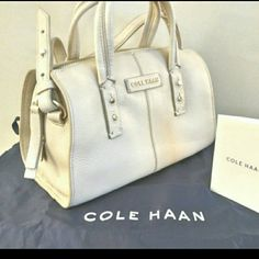 Cole Haan Leather Crossbody Bag Cole Haan Satchel  Color: Ivory Material: 100% Genuine Leather Brand Cole Haan Condition: Brand new with tags  -Dust bag included -Blue lining -Inner zipper compartment -Crossbody and shoulder straps Dimensions: 8.5 inches x 6 inches x 4.75 inches  Retail $228 Cole Haan Bags Crossbody Bags