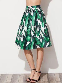 Jungle Leaf Print Box Pleated Flared Skirt