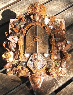 dia de los muertos oso forest goddess  - mixed media nicho wall shrine