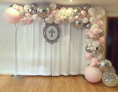 Blush pink white and silver balloon garland for baby girl's baptism Decoration Communion, Baptism Party Decorations, Baptism Themes, First Communion Decorations, First Communion Party, Girl Baby Shower Decorations, Girl Decor, Baptism Ideas, Baptism Party Girls