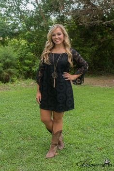 Utah Union Lace Dress is stunning! Featuring a round elasticized neckline, to wear on or off the shoulder and angled bell sleeves with ruffle detail. Western Dress With Boots, Country Western Dresses, Dresses With Cowboy Boots, Western Dresses For Women, Country Style Outfits, Cowgirl Dresses, Country Fashion, Cowgirl Outfits, Western Outfits