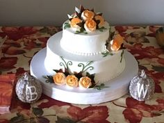 Simple two tiers with orange sprayed roses Traditional Wedding Cakes, Cheesecake Recipes, Roses, Orange, Simple, Desserts, Food, Tailgate Desserts, Deserts