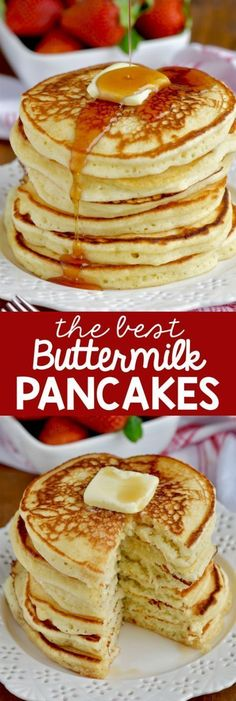 These are the BEST Buttermilk Pancakes. This is such a fluffy buttermilk pancake recipe and with the perfect flavor. #buttermilkpancakesrecipe #bestbuttermilkpancakesrecipe