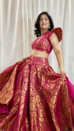 Indian Gowns Dresses, Indian Fashion Dresses, Indian Designer Outfits, Half Saree Lehenga, Lehnga Dress, Brocade Lehenga, Banarasi Lehenga, Girls Frock Design, Long Dress Design