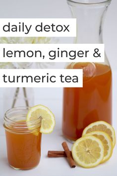 Daily detox lemon, ginger & turmeric tea - Wow - Skip the eye-watering shots of apple cider vinegar and start the day with this flavorful and healin - Tumeric Tea Recipe, Tumeric And Ginger, Turmeric Recipes, Ginger Lemon Tea, Lemon Ginger Detox Tea Recipe, Lemon Ginger Tea Benefits, Herbalife, Healthy Detox, Healthy Drinks
