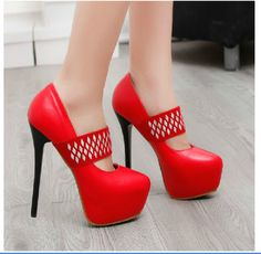 Ericdress selling fashion shoes online is good. Cheap shoes for women like red high heel shoes are hot sellers. Red Suede Shoes, Red High Heel Shoes, Suede Pumps, Creative Shoes, Unique Shoes, Super High Heels, Beautiful High Heels, Colorful Shoes, Evening Shoes