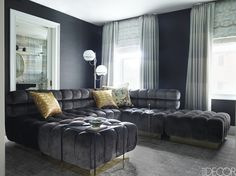 Another family-friendly monochromatic living space  - ELLEDecor.com