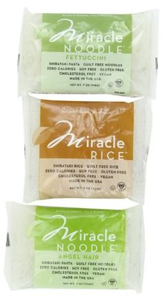 Miracle Noodle Shirataki Pasta, 6 bag Variety Pack, 44 ounces (Includes: 2 Shirataki Angel Hair, 2 Shirataki Rice and 2 Shirataki Fettuccini) Miracle Noodle http://www.amazon.com/dp/B00BTMDALO/ref=cm_sw_r_pi_dp_jYY-tb0XGMK7P