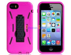 Robot Design Plastic & Silicone Stand Protective Case 2pc Set for iPhone 5C (Purple)