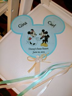 Mickey Mouse fan for wedding guests! From an Orlando wedding at the Disney World Swan & Dolphin. #disneywedding #mickeyminnie #orlandowedding