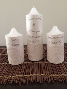 Pretty wedding unity candles with ivory paper background & lace to decorate.   Visit http://facebook.com/moderndesigns1 to see more products in my albums
