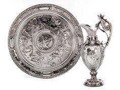 English silver ewer and basin, Mark Elkington & Co., 1900's