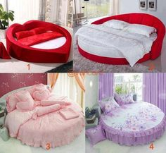 Heart shaped and round beds. Dream Bedroom, Home Bedroom, Bedroom Decor, Bedroom Ideas, Bedroom Stuff, Bedroom Designs, White Comforter Bedroom, Bedding, Circle Bed