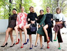 The pointy heels    Fashion trends 2013. Pointy toe pumps. We concede that when you've got legs like Natalia Vodianova (third from left) – you could probably wear shoeboxes on your feet and no one would notice. However, the perks of the pointy toe pump are for all, no matter your height. Take the adorable Miroslava Duma (fourth in from the left). At a delicate five foot two, she looks leggy in those helpful heels