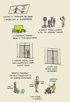 """""""People of the Art Museum"""" by Grant Snider of Crowd Drawing, Museum Education, Art Worksheets, Art Story, Smash Book, How To Take Photos, Art Museum, Painting & Drawing, Comic Art"""