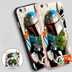 wars boba fett art Phone Ring Holder Soft TPU Silicone Case Cover for iPhone 4 4S 5C 5 SE 5S 6 6S 7 Plus