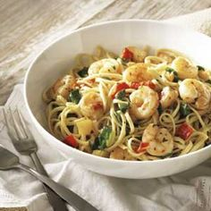 Shrimp Scampi With Roasted Peppers and Spinach from publix.com Aprons SimpleRecipes