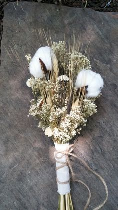 Rustic Romance Wedding Bouquet- Southern Bouquet, Cotton Bouquet, Baby's Breath Bouquet, Wheat Bouquet, Margarita Flowers, Twine, Rustic