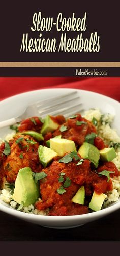 Crock pot paleo and gluten-free Mexican meatballs in a rich chipotle sauce. Tomatoes, chillies, smoky paprika and cumin give this savory dish layers of authentic flavor. Serve over cilantro-lime cauliflower rice. #paleo #glutenfree