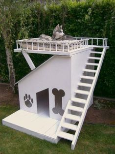 two-story dog house with balcony. Love this except I think Raine would fall off the balcony. FYI Raine is the dog.