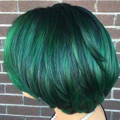 Black Bob With Emerald Green Highlights