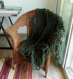 Boho Home Decor Throw Blanket Hand Knit Throw Merino Wool