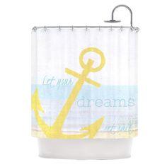 """Alison Coxon """"Let Your Dreams Set Sail"""" Shower Curtain"""