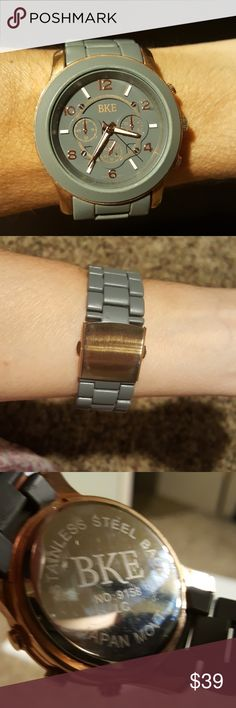 Ladies BKE Watch Ladies BKE Rose Gold and Slate Dial Designer Watch 9158 New Battery BKE Other