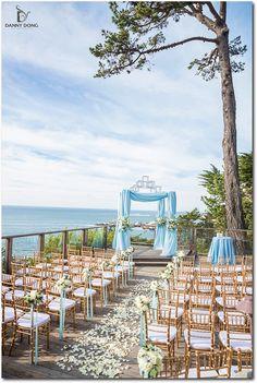 Powder Blue and White Oceanside Wedding at Hyatt Carmel Highlands Inn | Ceremony Decoration Details | Event Planning, Styling & Design: Manna Sun Events | www.mannasunevents.com | Photo: Danny Dong Photography