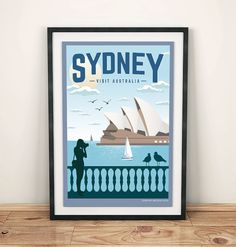 Vintage Travel Poster Sydney Travel by GraphicHomeDesign on Etsy Australia Funny, Visit Australia, Sydney Australia, Australia Crafts, Just Magic, Airline Logo, Tourism Poster, Vintage Travel Posters, Screen Printing