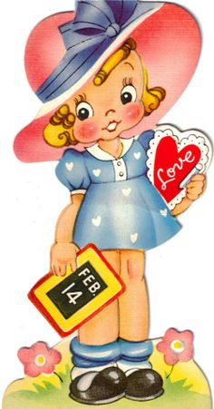 """My old ones from the early '50s are laminated and hang on my """"Valentine"""" tree...adorable!  Download these and make your own!!!"""