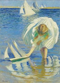 Edmund Charles Tarbell (American Impressionist, 1862–1938) Girl with a Sailboat.  This seems so restful!