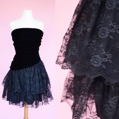 Vintage 80s Prom Dress 90s // Velvet Strapless 1980s 1990s Black Lace Ruched Cocktail LBD Party Dress Womans Size Small by RIPandROSE on Etsy