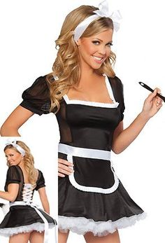 Sexy black and white french maid outfit mini dress fancy dress hen night fetish costume club wear clothing size 8 10