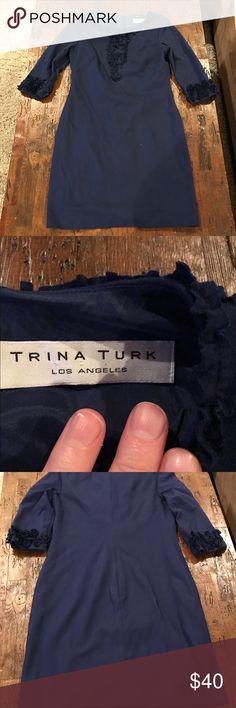 Blue Trina Turk Dress Blue Trina Turk size small dress, 3/4 sleeve, zip up back Trina Turk Dresses
