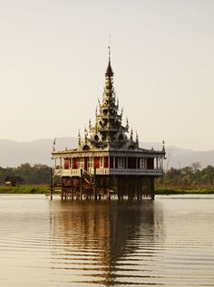 Ornate stilted temple on Inle Lake, Myanmar (Burma)