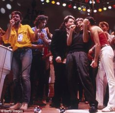 Live Aid 1985, from left to right: George Michael, Bob Geldof, Bono, Paul McCartney, Freddie Mercury, and David Bowie.