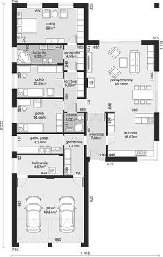 Rzut parteru projektu Dom przy Pastelowej 14 Small House Floor Plans, Lake House Plans, Best House Plans, Dream House Plans, Flat House Design, Modern House Design, Architecture Plan, Residential Architecture, Interior Design Layout