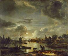 Canal Scene by Moonlight, Aert van der Neer