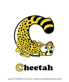 Cheetah - Alphabetimals make learning the ABC's easier and more fun! http://www.alphabetimals.com