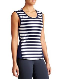 Ocean Stripe Chi Muscle - Our signature, ultra-lightweight top with Unstinkable technology in a muscle-tank silhouette with a bold stripe in front.