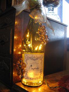 Cupcake label wine bottle light. $25.00, via Etsy.