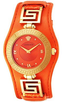 Versace Women's VLA060014 V-SIGNATURE Analog Display Swiss Quartz Orange Watch *** Read more reviews of the product by visiting the link on the image.